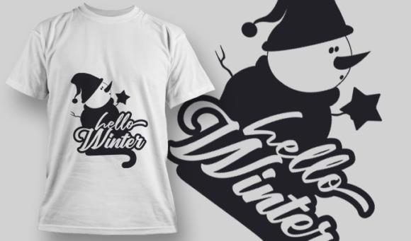 2313 Hello Winter T-Shirt Design T-shirt Designs and Templates vector