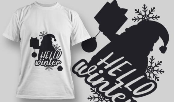 2314 Hello Winter T-Shirt Design T-shirt Designs and Templates vector