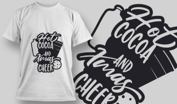 2319 Hot Cocoa And Xmas Cheer T-Shirt Design T-shirt Designs and Templates vector