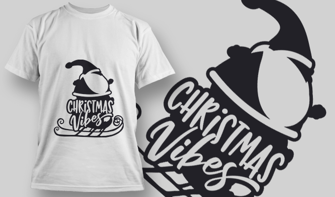 Christmas Vibes FREE T-Shirt Design 2321 Freebies vector