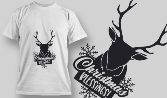 2328 Christmas Blessings! T-Shirt Design T-shirt Designs and Templates vector