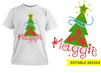 Christmas tree with name placeholder T-shirt Designs and Templates christmas
