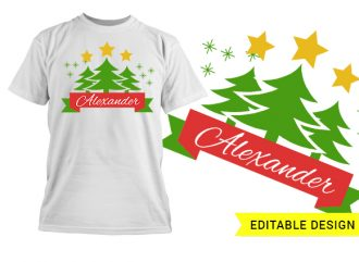Christmas trees with name placeholder T-shirt Designs and Templates christmas