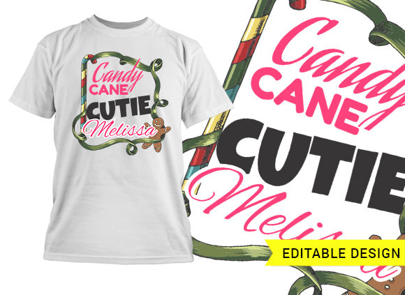 Candy cane cutie with name placeholder 1