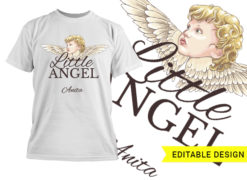 Little angel with name placeholder T-shirt designs and templates angel