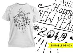 Happy new year editable design template