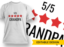 5-Star Grandpa T-shirt designs and templates LOVE