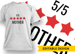 5-Star Mother T-shirt designs and templates LOVE