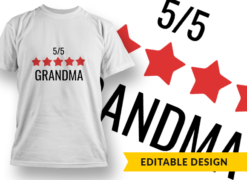 5-Star Grandma T-shirt designs and templates LOVE