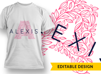 Ornate Letter A with Name Placeholder T-shirt Designs and Templates floral