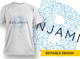 Ornate Letter B with Name Placeholder T-shirt Designs and Templates floral
