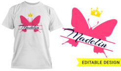 Butterfly monogram T-shirt designs and templates butterfly