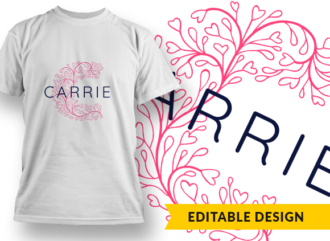 Ornate Letter C with Name Placeholder T-shirt Designs and Templates floral