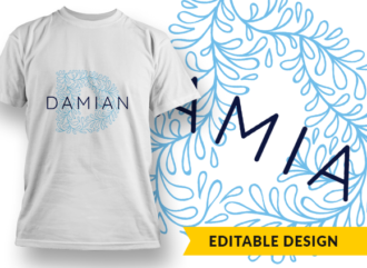 Ornate Letter D with Name Placeholder T-shirt Designs and Templates floral