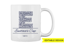 E letter monogram for mug printing T-shirt designs and templates floral