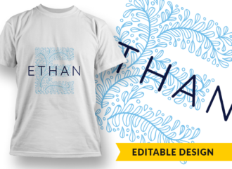 Ornate Letter E with Name Placeholder T-shirt Designs and Templates floral