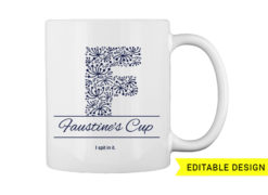 F letter monogram for mug printing T-shirt designs and templates floral