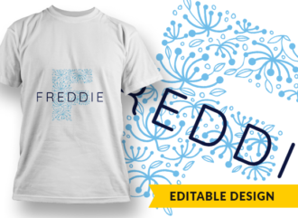 Ornate Letter F with Name Placeholder T-shirt Designs and Templates floral