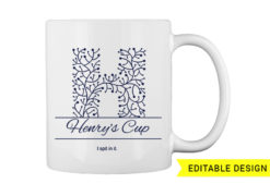 H letter monogram for mug printing T-shirt designs and templates floral