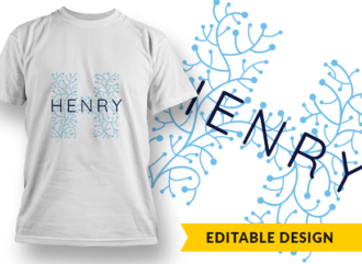 Ornate Letter H with Name Placeholder T-shirt Designs and Templates floral