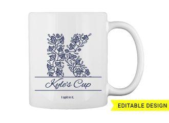 K letter monogram for mug printing T-shirt Designs and Templates floral