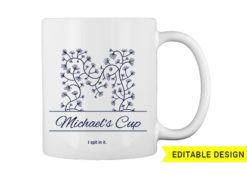 M letter monogram for mug printing T-shirt designs and templates floral