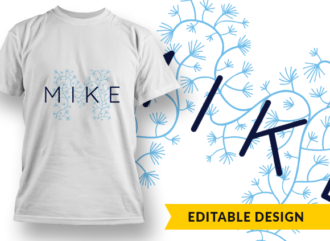 Ornate Letter M with Name Placeholder T-shirt Designs and Templates floral