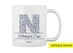 N letter monogram for mug printing T-shirt designs and templates floral