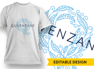 Ornate Letter Q with Name Placeholder T-shirt Designs and Templates floral