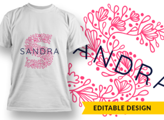Ornate Letter S with Name Placeholder T-shirt Designs and Templates floral
