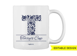 T letter monogram for mug printing T-shirt designs and templates floral