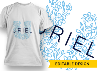 Ornate Letter U with Name Placeholder T-shirt Designs and Templates floral