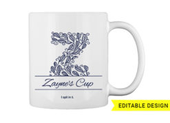 Z letter monogram for mug printing T-shirt designs and templates floral