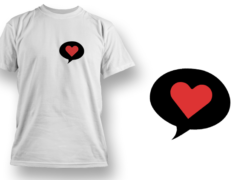 Chat bubble with heart T-shirt designs and templates heart
