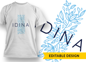 Ornate Letter i with Name Placeholder T-shirt Designs and Templates floral