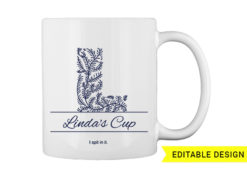 L letter monogram for mug printing T-shirt designs and templates floral
