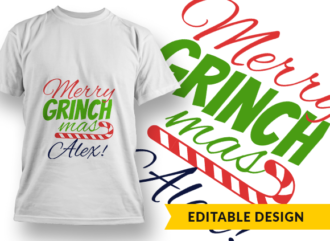Merry Grinchmas + Name T-shirt Designs and Templates christmas