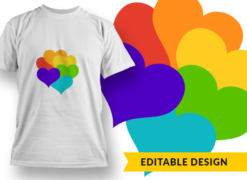 Rainbow Hearts T-shirt designs and templates heart