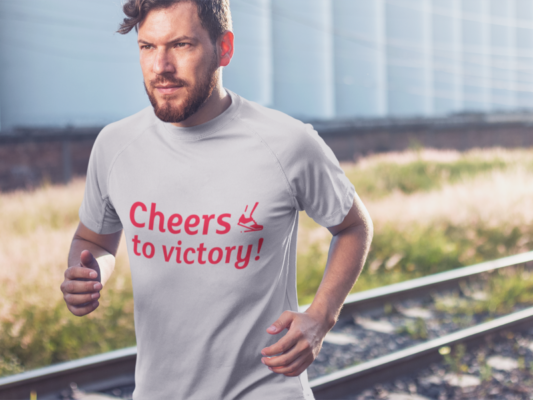 Welcome 2020 with These Trending T-Shirt Designs t shirt mockup of a man running near some train tracks
