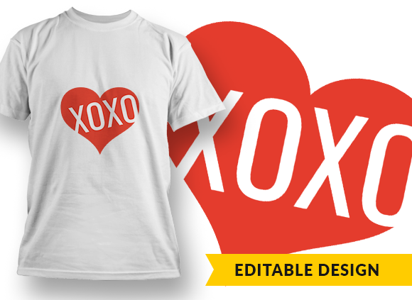 XOXO Heart T-shirt Designs and Templates heart