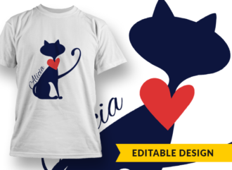 Cat with Name placeholder T-shirt Designs and Templates cat