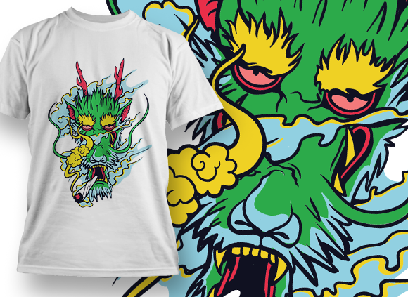 Dragon Smoking T-shirt Designs and Templates leaf