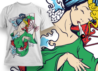 Geisha Smoking T-shirt Designs and Templates leaf