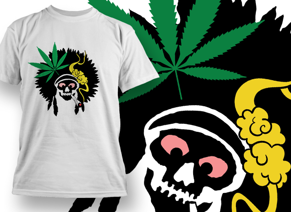 Indian Skull Smoking Weed Design Template T-shirt Designs and Templates leaf
