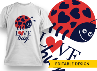 Love Bug Design Template T-shirt Designs and Templates heart