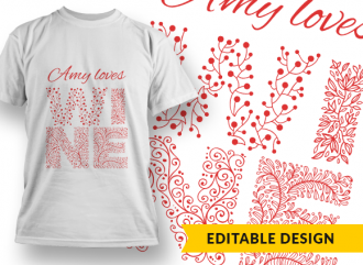 """Name placeholder"" loves wine T-shirt Designs and Templates ornate"