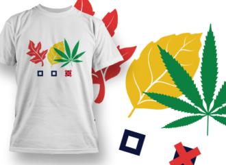 Three Leaves T-shirt Designs and Templates leaf
