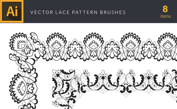 Lace Pattern Brushes For Adobe Illustrator | Vector Pack