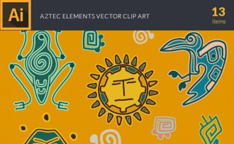 Aztec Elements Vector Pack Vector packs Aztec,Elements,vector,clipart,element,illustration