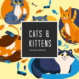 Cats Vector Pack Vector packs Cats,vector,clipart,element,illustration